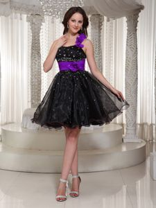 Plus Size Crisscross Back Puffy Black Short Prom Dresses in Organza