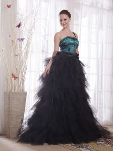 Black and Peacock Green One Shoulder Brush Prom Dress with Appliques