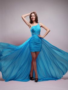 Aqua Blue One Shoulder Beaded High-low Prom Gown Dress in Gibson City
