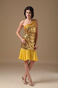Gold Sequin and Chiffon One Shoulder Knee-length Informal Prom Dress