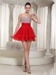 Exquisite Red Beaded Mini-length Junior Prom Dress with Spaghetti Straps