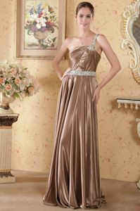 Brown Beaded One Shoulder Ruched Long Prom Gown Dresses in Indiana