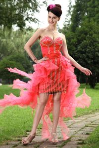 Watermelon Red Beaded Sweetheart High-low Semi-formal Prom Dresses