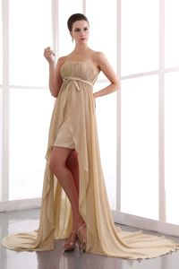 Elegant Champagne Strapless Ruched High-low Semi-formal Prom Dresses
