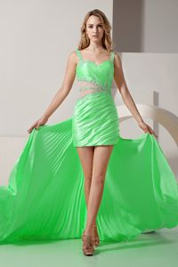 Spring Green High-low Beaded High-low Junior Prom Dresses with Straps