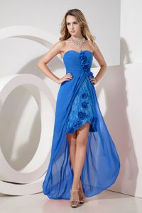 Sky Blue Sweetheart High-low Prom Attire with Lace and Flowers in KA USA