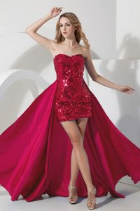 Luxurious Wine Red Sequin Sweetheart Mini-length Informal Prom Dresses