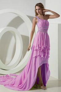 Rose Pink Beaded One Shoulder High-low Ruched Prom Attire in Orleans