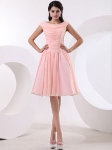 Bateau Peach Pink Prom Gown Dresses with Ruches in Port Pirie SA