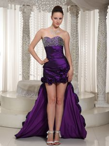 Purple Sweetheart High-low Eggplant Prom Dress with Hand Flowers