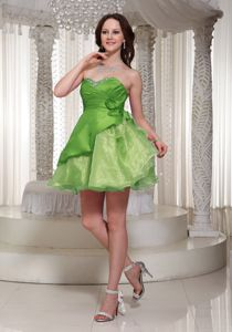 Organza Mini-length Spring Green Prom Cocktail Dress with Beading