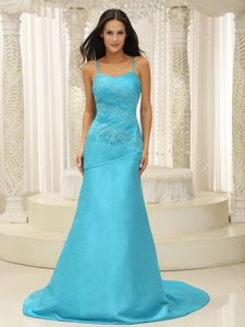 Aqua Blue Appliqued Plus Size Prom Dress with Spaghetti Straps in Lithgow