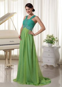 Chiffon Beaded Teal and Spring Green Prom Dress with Brush Train
