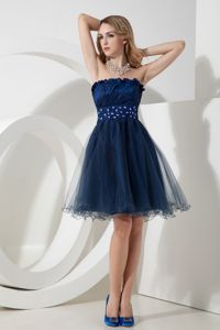Navy Blue Beaded Sash Jackson Dresses For Prom Court by Taffeta and Organza