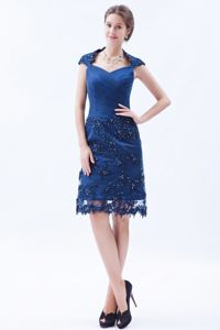 Nashville Blue Square Appliques Decorate Prom Gown with Cap sleeves in Knee-length