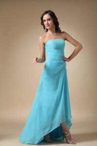 Aqua Blue Strapless Asymmetrical Prom Gown Dress with Ruching in Elfrida