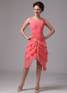 Watermelon Red V-neck Asymmetrical Prom Gown with Ruffles and Ruches