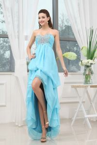 Aqua Blue Prom Gown Dress with Appliques and Beading in Grand Coulee
