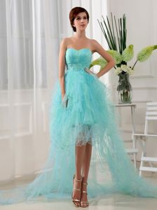 Cheap Beaded Sweetheart High-low Organza Dress for Prom in Aqua Blue