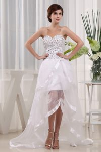 Popular White High-low Dress for Formal Prom with Beading in Endicott