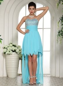 Aqua Blue Beaded Sweetheart Asymmetrical Prom Outfits in Hunts Point