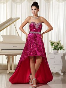 Rose Sweetheart Asymmetrical Prom Gowns with Sequins in Coulee City