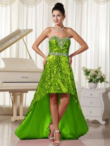 Beautiful Sweetheart High-low Prom Gown Dresses with Sequins in Green