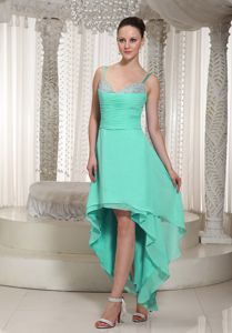 Beaded and Ruched Turquoise Prom Dress With Spaghetti Straps in Forks