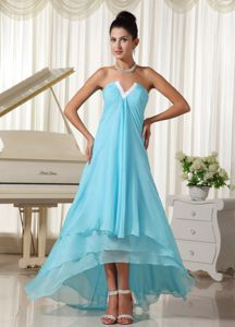 Baby Blue High-low V-neck Chiffon Prom Dresses with Ruching in Ford