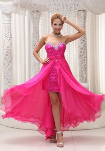 Sweetheart Neck Asymmetrical Hot Pink Prom Gown Dress in Des Moines