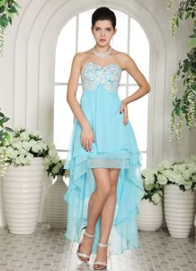 Beaded Sweetheart Asymmetrical Prom Gown in Aqua Blue with Appliques
