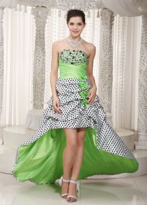 Ruched Spring Green Strapless High-low Formal Prom Dresses in Grayland