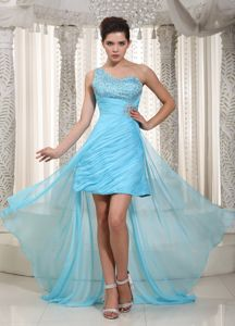 Beaded High-low Prom Gowns in Aqua Blue with One Shoulder in Fircrest