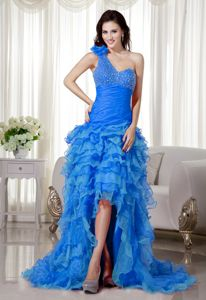 2014 One Shoulder Ruched Beaded Prom Gown with Ruffled Layers