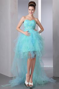 Sweet High-low Ruffled Prom Gown with Beaded Waist in Tomintoul