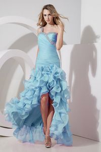 Aqua Blue High-low Beading Prom Gown with Ruffled Layers Cheap