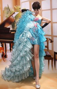 Aqua Blue Sequin Sweetheart High-low Prom Outfits with Flowers and Ruffles