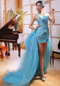 Aqua Blue Watteau Halter Prom Attire with Appliques and Sequins in ID USA