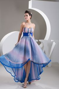 Colorful Sweetheart High-low Semi-formal Prom Dresses with Beaded Belt