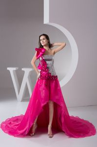 Hot Pink Asymmetrical High-low Prom Gown Dress with Flowers and Sequin