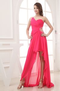 Hot Pink Single Shoulder High-low Semi-formal Prom Dresses with Cutout