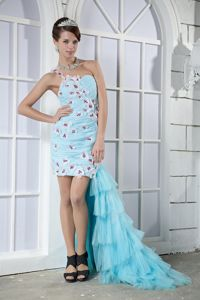 Single Shoulder Light Blue Ruched High-low Prom Gown Dress with Flowers
