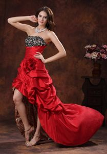 Leopard Red Lace-up Beaded High-low Prom Dress with Flower and Pick-ups