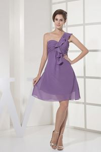 Lilac One Shoulder Ruched Mini-length Dress for Formal Prom with Layers