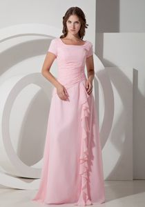Modest Lace-up Baby Pink Formal Prom Dress with Short Sleeves and Ruffles