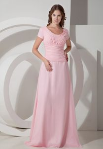 Empire Scoop Neck Short Sleeves Long Prom Dress for Summer in Baby Pink
