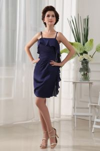 Spaghetti Straps Navy Blue Mini Prom Dresses with Ruffles for Cheap Price