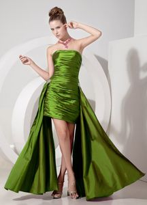 Zipper-up High-low Ruched Olive Green Informal Prom Dress under 150