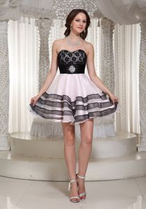Pretty Puffy Mini Cocktail Prom Dresses in Black and Baby Pink Wholesale