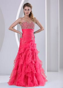 Beautiful Prom Dress for Slim Girls with Ruffled Layers and Beads